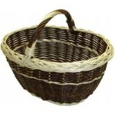La Vannerie d'Aujourd'hui - Panier ovale osier brut/blanc à bord natté