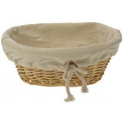 Corbeille à pain ovale osier blanc tissu