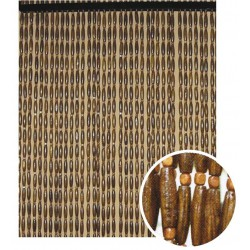 La Vannerie d'Aujourd'hui - Rideau à olives en bois foncé, 52 pendants