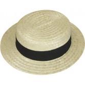 La Vannerie d'Aujourd'hui - Chapeau canotier en paille avec un ruban noir