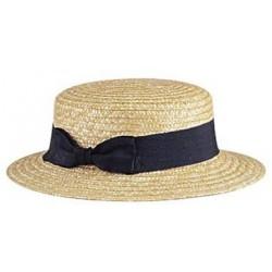 La Vannerie d'Aujourd'hui - Chapeau de paille de style canotier, avec un noeud