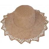 Chapeau matière rabane , effet dentelle et ruban couleur.