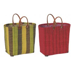 La Vannerie d'Aujourd'hui - Cabas pour enfant en rabane, avec fond rigide et anses en simili cuir, idéal pour les enfants