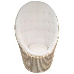 La Vannerie d'aujourd'hui - Fauteuil design oeuf en rotin à filet, avec tissu écru.