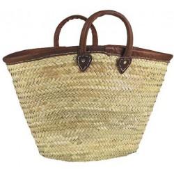 La Vannerie d'Aujourd'hui - Couffin en palmier naturel bordé de cuir