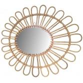 La Vannerie d'Aujourd'hui - Miroir en rotin design pétale de fleur