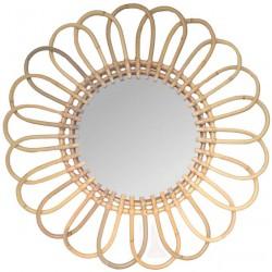 Miroir en rotin marguerite