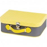 La Vannerie d'Aujourd'hui - Valise en carton grise et jaune