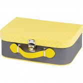 Valise grise et jaune