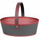Panier ovale gris et rouge