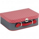 Valise grise et rouge