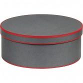 Coffret rond gris et rouge