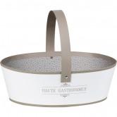 "Panier ovale ""Haute gastronomie"" blanc/taupe"