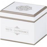 """Coffret carré """"Haute gastronomie"""" blanc et taupe"""