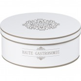 """Coffret rond """"Haute gastronomie"""" blanc/taupe"""
