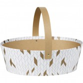 Panier ovale blanc/or