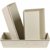 Corbeille rectangle beige effet bois