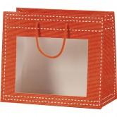 Sac en papier orange avec fenêtre PVC