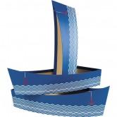 """Corbeille forme barque décor """"La Mer"""" bleu"""