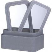 Coffret rectangulaire gris décor surpiqûre, à fenêtre PVC