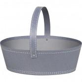 Panier ovale gris décor couture