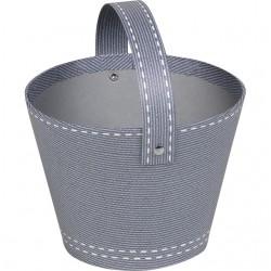 La Vannerie d'Aujourd'hui - Panier rond en carton gris décor surpiqûre