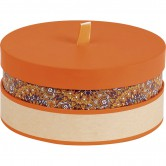 Coffret rond orange/rosaces