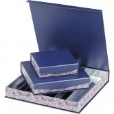 Coffret carré rangées bleu/rosaces