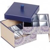 Coffret carré 2 étages bleu/rosaces