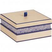 Coffret carré bleu/rosaces