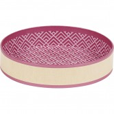 Corbeille ronde décor kraft et motifs roses