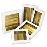 Coffret rectangle à rangées noir/blanc/or avec fenêtre PVC