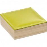 Coffret carré avec couvercle en simili cuir vert