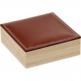 Coffret carré à rangées avec couvercle en simili cuir marron