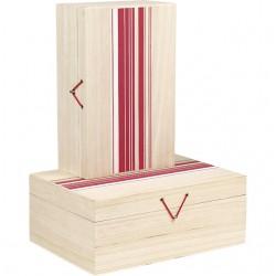 Coffret rectangle rayures rouge/blanc