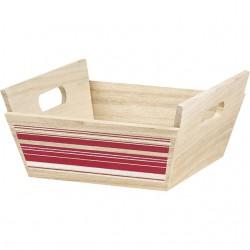 Corbeille carrée à rayures rouge/blanc