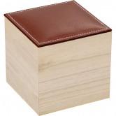 Coffret carré avec couvercle en simili cuir marron