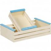 La Vannerie d'Aujourd'hui - Cagette en bois, larges lattes nature/bleu