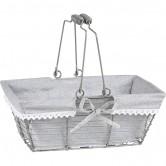La Vannerie d'Aujourd'hui - Panier rectangulaire bois avec tissu gris
