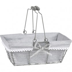 Panier rectangle avec tissu gris