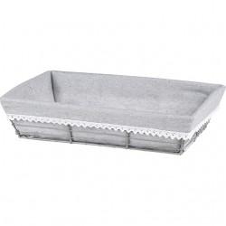 Corbeille rectangle avec tissu gris