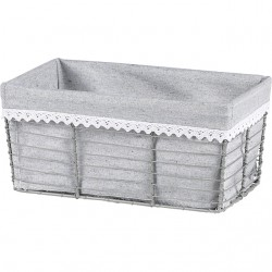 Corbeille rectangle bords droits et tissu gris