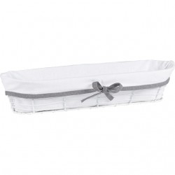 La Vannerie d'Aujourd'hui - Corbeille ovale en métal avec tissu blanc
