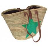 La Vannerie d'Aujourd'hui - Couffin palmier motif étoile avec sequins