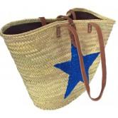 La Vannerie d'Aujourd'hui - Couffin palmier naturel motif étoile bleue