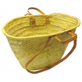 La Vannerie d'Aujourd'hui - Couffin personnalisable en palmier naturel anses cuir
