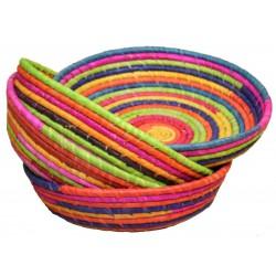 Corbeille en dattier multicolore