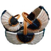 Panier en moelle rotin naturelle et bleue
