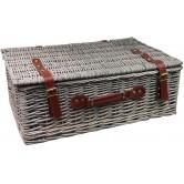 La Vannerie d'Aujourd'hui - Petite valise en osier gris, poignées et attaches en cuir