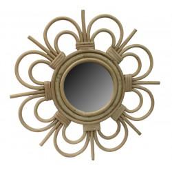 La Vannerie d'Aujourd'hui - Miroir en rotin design fleur petit modèle